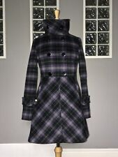 SOIA & KYO WOOL COAT SIZE S PURPLE BLACK PLAID TARTAN DOUBLE BREASTED PEA COAT