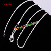 Wholesale 10pcs 1MM Snake Chain Fashion Silver Jewelry Necklace XMAS Gift Free