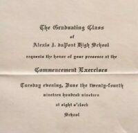 1919 WILMINGTON DELAWARE AI DuPont Hight School Antique Commencement Invitation
