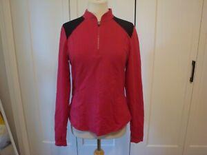 EUC Fabletics 1/4 zip l/s jacket hot pink black mesh size M