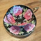 Aynsley Cabbage black and rose teacup and saucer no reserve! RARE