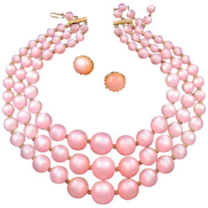 Pink Moonglow Lucite Triple-Strand Necklace with Earrings