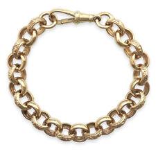 (16.3g) Solid 9ct Gold Plain & Engraved BABY / CHILDS Chunky Belcher Bracelet