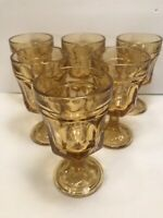 6 VINTAGE AMBER GLASS GOBLETS INDIANA GLASS HEAVY PANELED THUMBPRINT  5 1/8''