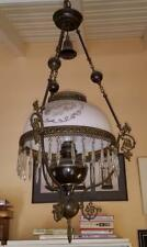 Antique Tehran Bahrami Persian Hanging Brass Oil Lamp Chandelier