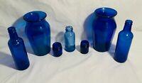 Lot of Seven Colbalt Blue Glass Bottles-Various Sizes