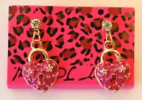 Betsey Johnson Crystal Rhinestone Enamel Hearts Post Earrings