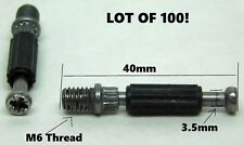 """100 PCS! Furniture Connector Fittings 40mm (1-5/8"""") Threaded Dowels for Cam LD"""