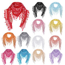 NEW Fashion Women Ladies Lace Sheer Floral Scarf Shawl Tassel Scarf Warp Stole