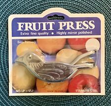 FRUIT LEMON & LIME BIRD SQUEEZER ~ HAND PRESS ~ STAINLESS STEEL ~ NEW ON CARD