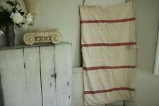 Vintage European Mattress Cover linen & cotton red stripes 1920's Hand Woven
