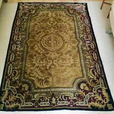 Very Good Traditional Vintage   Hand Woven Gold & Aubergine  Wool  Carpet Rug