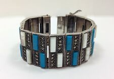 Vintage Revival Deco Nouveau Mother of Pearl Turquoise Panel Bracelet Sterlin...