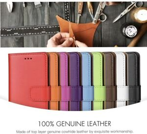 UK Real Genuine Leather Flip Wallet Stand Case Cover For iPhone 8 UK FAST POST