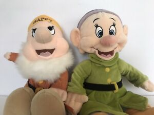 """Lot of 2 Disney Store DOPEY And HAPPY Snow White 7 Dwarves Plush Stuffed Toy 16"""""""