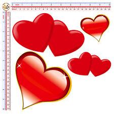 cuori rossi adesivi auto moto casco sticker hearts red tuning print pvc 4 pz.