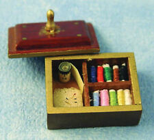 Sewing Box with accessories, Dolls House Miniature Sewing Room 1/12 Scale