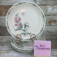 Noritake CONSERVATORY Gala Cuisine Floral Butterfly  Dinner Plates Set of Four