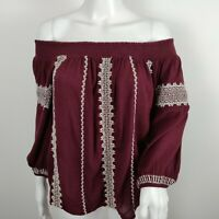 Lucky Brand Peasant Top Size Medium Wine Off Shoulder Embroidered Blouse Boho