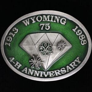 Wyoming 4H Diamond Anni Western Cowgirl Cowboy 1980s Vintage Belt Buckle