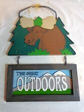 "Moose Wall Sign THE GREAT OUTDOORS Glass Wood 18"" Door Decor"