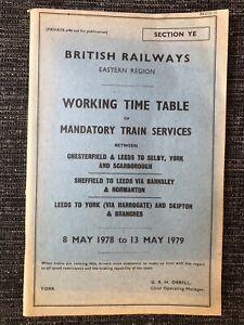 BR ER Working Timetable Sctn YE Mandatory 1978/9 Yorkshire