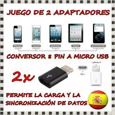 2x Adaptador Conversor Micro USB 5 A Lightning 8 PIN iPhone 6 IPAD MINI Negro S