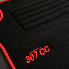 4 Alfombrillas Peugeot 307CC 307cc Deporte Premium Alfombra Logo Rojo Medida