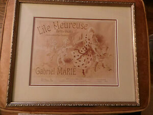 original Jules Cheret Music Cover Lithograph Lile Meuresue, Framed, Matted c1900