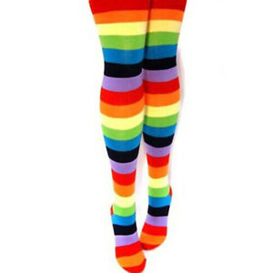 Women Cotton Blends Thigh High Warm Rainbow Striped Knee Socks Long Stockings