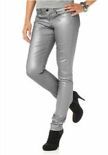 Laura Scott Jeggings Lederoptik silber Jeans Leggings Hose Röhre Jeansröhre 34 #