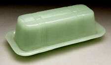 Depression Style Glass JADEITE JADE Green Milk Glass Butter Dish Long New