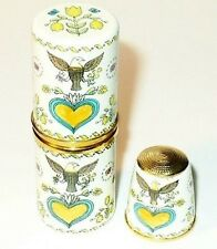 Halcyon Days Enamel Sewing Set - Thimble & Needle Case - Eagle & Heart - Mib