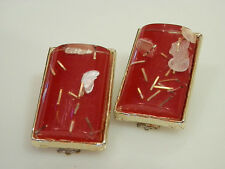Vintage 1950s Sassy Red Confetti Lucite Earrings  570B