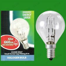 6x 42W (=60W) WATT CLEAR DIMMABLE HALOGEN GOLF ENERGY SAVING LIGHT BULBS SES E14