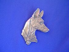 Pharaoh Hound Head and crystal pin #54B Pewter Dog Jewelry by Cindy A. Conter