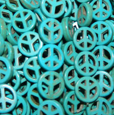 15mm Peace Sign Beads Imitation Chalk Turquoise Beads 15""