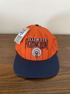Vintage University Of Illinois Fighting Illini Orange Pinstripe Snapback Hat NWT