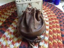 Nice Primitive Antique Early 1900s Leather Collar Bag Original Lining Drawstring