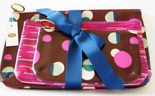 FOSSIL KEYPER GIFT SET OF 3,TRIPLE POUCH TOTAL ECLIPSE & HOT PINK,CLUCH,COSMETIC
