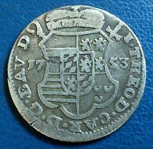 LIEGE (BELGIUM): 1753 Escalin, Theodore, rare, silver, higher grade rev worn obv