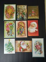 Vintage Greeting Card Lot Unused Glitter Embossed Santa Religious Tree Carolers