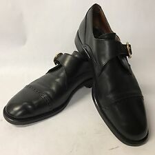 Men's Andrea Fabiano Black Monk Strap Loafers With Toecap Size 9 Nice!