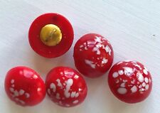 """Vintage Glass Buttons - 5 Red & White Glass 1/2"""" Metal Shank Buttons - Czech"""