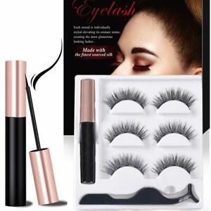 3 Pair Reusable False Lashes & Waterproof Magnetic Eyeliner Set (With Tweezers)