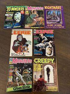 7 Vintage Monster Horror Magazines Famous Monsters 3D Monsters Eerie VG/FN 51021