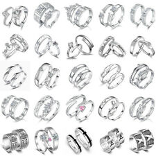 WOMEN MEN COUPLE 925 STERLING SILVER FILLED ADJUSTABLE RINGS ENGAGEMENTS GIFTS
