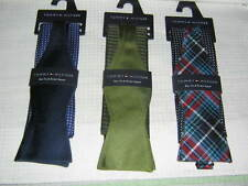 TOMMY HILFIGER BLACK/NAVY/GREEN BOW TIE AND POCKET SQUARE NWT LOT OF THREE