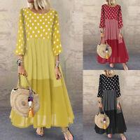 ZANZEA Women Spring Polka Dot Kaftan Abaya Loose Baggy Bohemian Long Maxi Dress