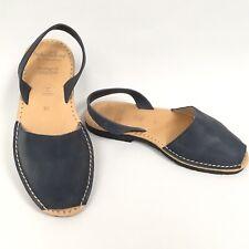 MIBO Handmade Avarcas Sandals Size 6 UK Blue Leather Slip On Sandals NEW